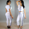 Fashion women jumpsuit 2016 new women summer black white sky blue regular casual full length 2 piece bodycon jumpsuit