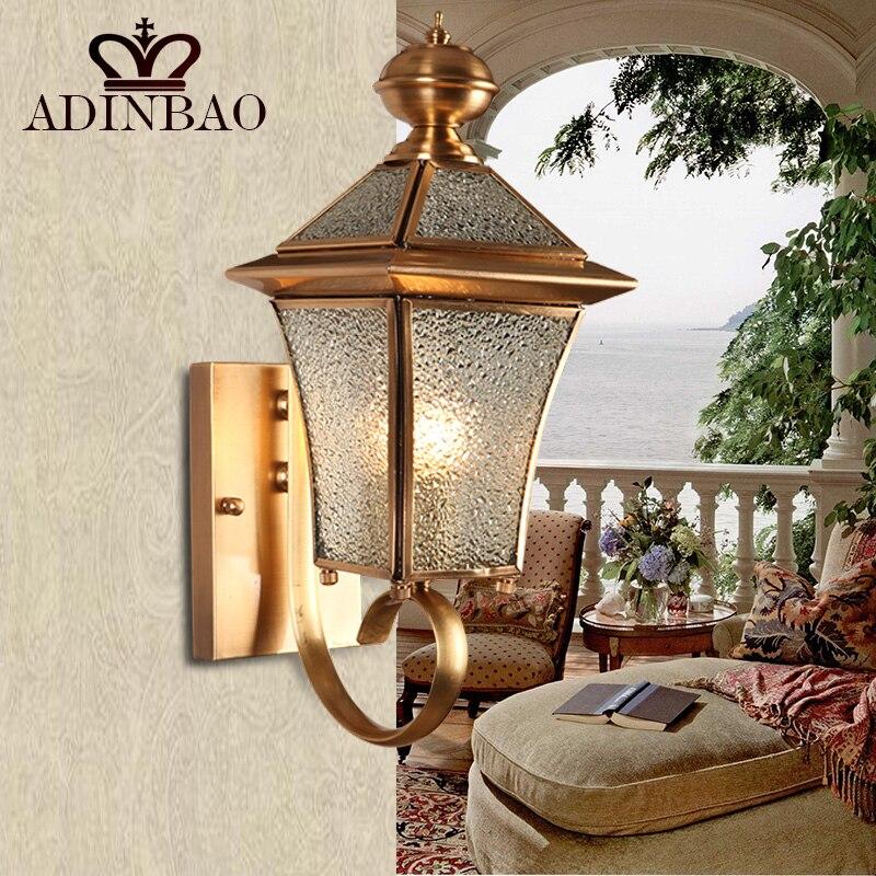 ФОТО Vintage Copper Wall Sconce Antique Garden Wall Light Indoor & Outdoor Lighting Bedroom Retro Copper Wall Lamp Sconce