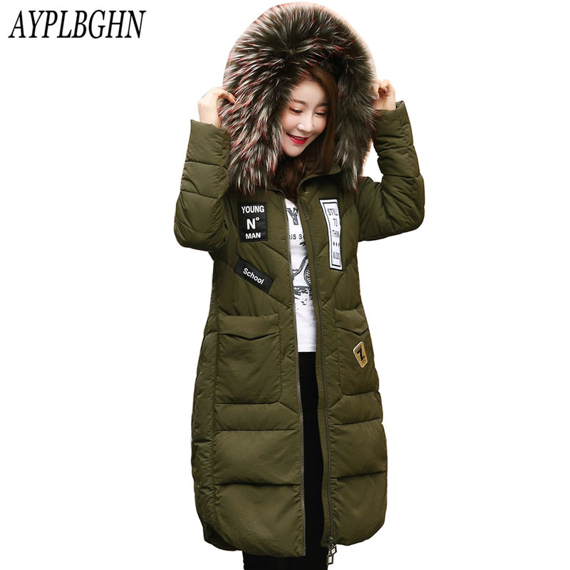 2017 New Fashion Winter Jacket Women Fur Collar Winter ...