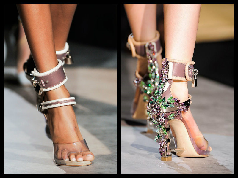 Newest Crystal covered metal high heels Rihanna wearing