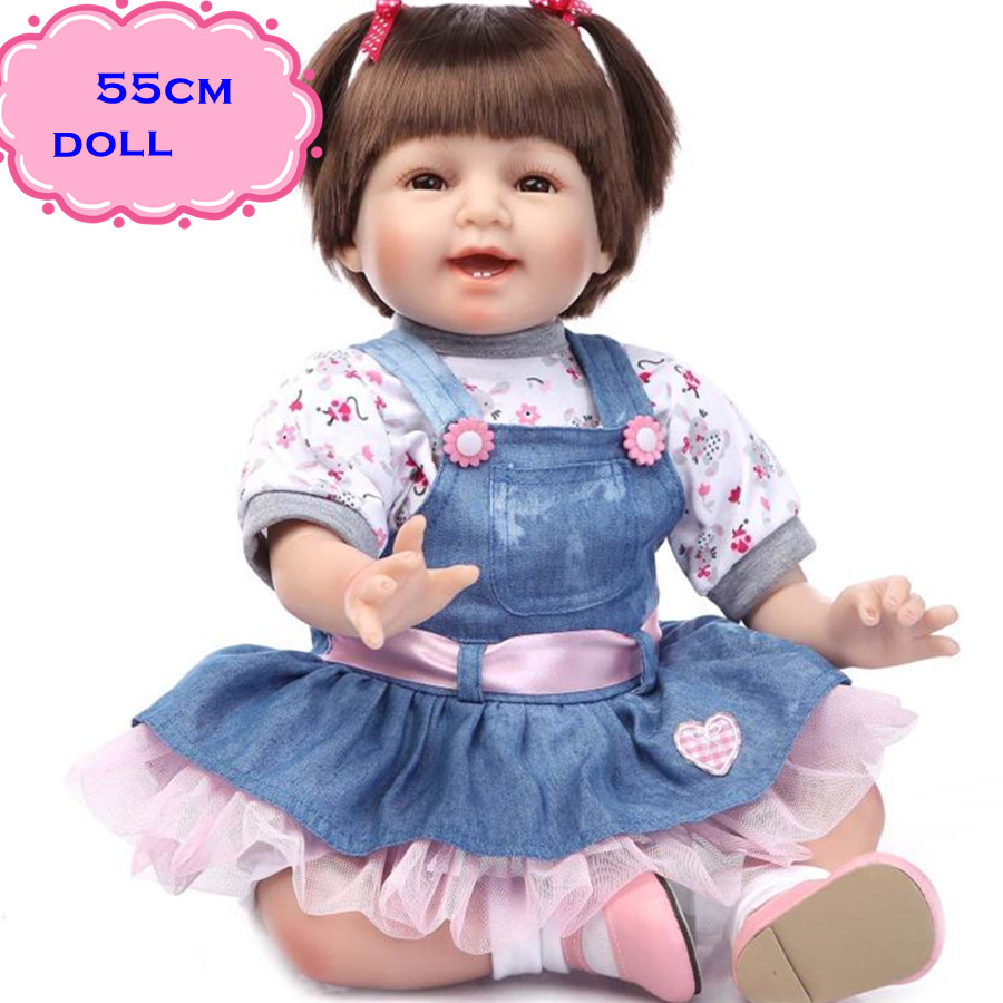The Best Gift Brinquedos 22inch NPK Silicone Reborn Baby Dolls In Denim Skirt Lovely Smiling Adora Doll For Sale Free Shipping free shipping hot sale real silicon baby dolls 55cm 22inch npk brand lifelike lovely reborn dolls babies toys for children gift