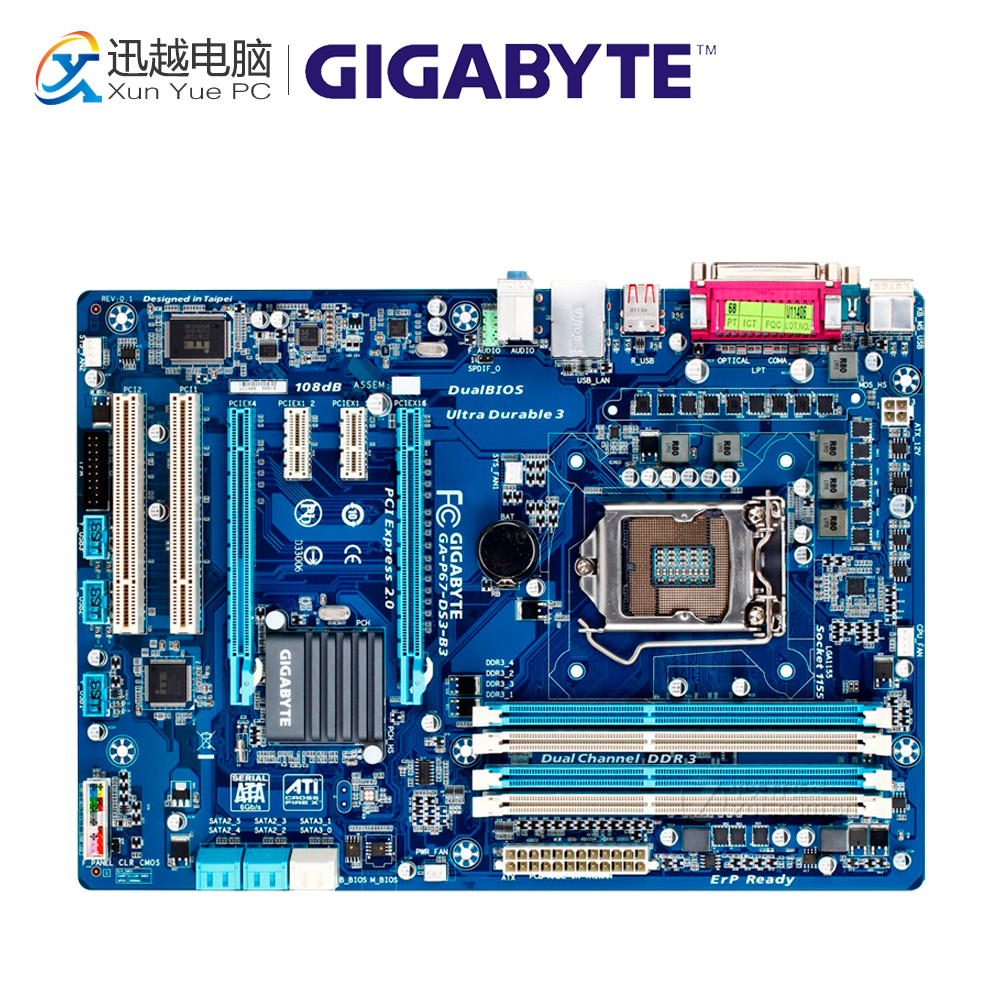 Gigabyte GA-P67-DS3-B3 Desktop Motherboard P67-DS3-B3 P67 LGA 1155 i3 i5 i7 DDR3 32G SATA3 ATX asus p8p67 desktop motherboard p67 socket lga 1155 i3 i5 i7 ddr3 32g sata3 usb3 0 atx