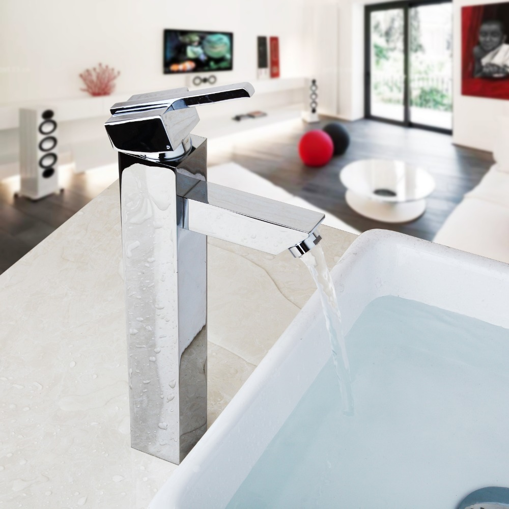 Luxury Hot Cold Water Mixer Polish Chrome Brass Countertop Faucet Bathroom Basin Sink Taps Kitchen Sink