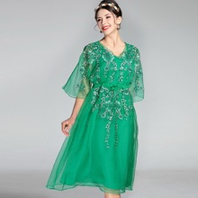 XXL Brand New Style Clothing Designer Women's Dress Summer 2017 Ladies V-Neck Organza Silk Embroidery Party Gorgeous Dress Robe