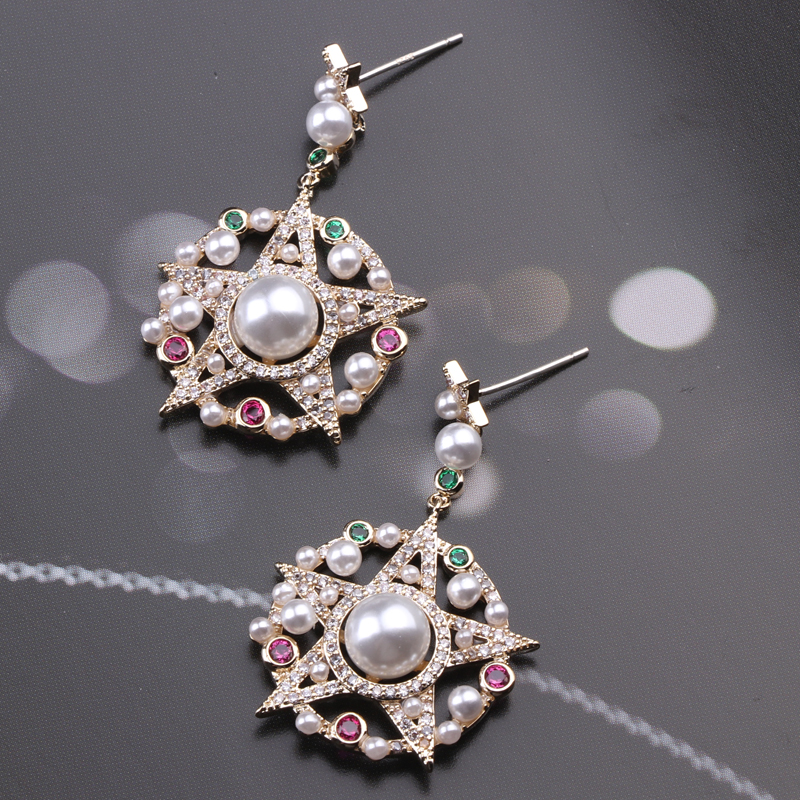 CocoANGEL Natural Color Zircon Stones Earrings Pearl Copper Silver Needle Star Shape Drop Earring For Women Fashion Jewelry in Drop Earrings from Jewelry Accessories