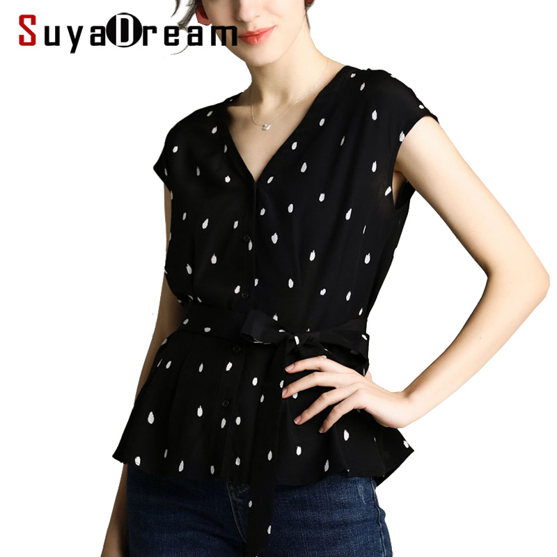 Women Blouse 100% REAL SILK Crepe Dots Printed Blouse Black Sleeveless Shirt 2019 Spring Summer Belted Blouse Shirt
