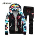 Jolintsai Camouflage Sweat Suits Men Lover's Sporting Suit Men 2017 Plus Size 4XL Fleece Hoodies Sweatshirts Tracksuit Men Set