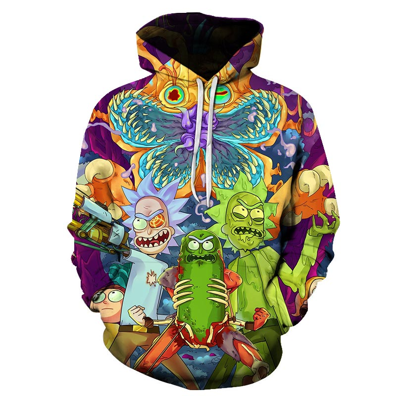 3d-Sweatshirts Hooded Hip-Hop Print Custom Hat Morty Rick Funny And Men/women