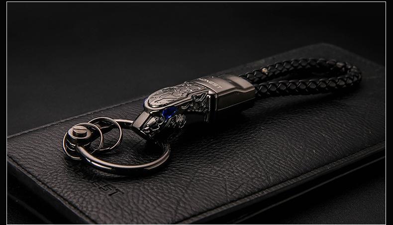HTB1UDZvXLNNTKJjSspkq6yeWFXai - New High Grade Men Key Chain Key Ring Rhinestones Car Keychains Holder Jewelry Bag Pendant Business Gift Genuine Leather K1572