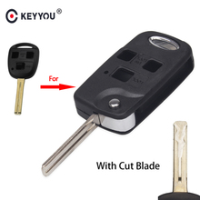 KEYYOU Uncut/Cut Blade Modified Filp Folding Remote Car Key Shell for Lexus Es Rx Lx Gs 3 Buttons Shell Case Fob