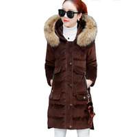 Winter Women Velvet Hooded Long Cotton Coat 2017 Fashion Parkas New Warm Fur Collar Straight Jacket