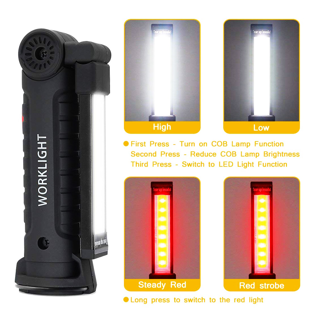 Lamp - zk20 USB Rechargeable LED Flashlight Collapsible COB Portable Woring Light Magnetic Base Hook Inspection Repairing Camping Lamp