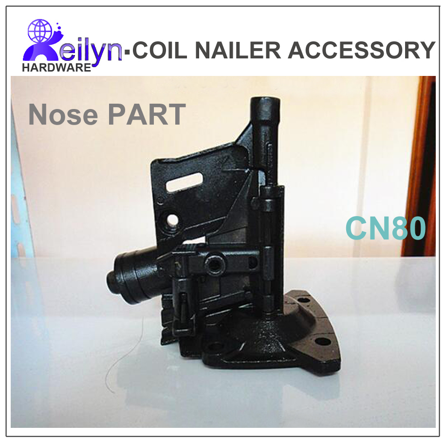ФОТО CN80 Nose part  nuzzle part spare parts for Nail Gun CN80 accessory for Coil Nailer Max, Bostitch, Senco, Meite CN80 PAL83