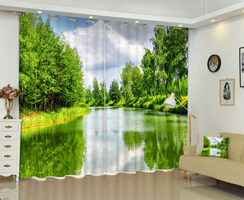 Landscape Of A River 3D Window Curtain For Living Room