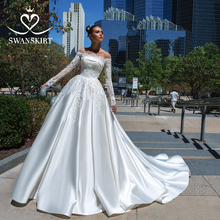 Swanskirt Elegant Appliquesซาตินงานแต่งงานชุด2020เรือคอยาวแขนยาวลูกไม้A Line Princessชุดเจ้าสาวVestido De Noiva F135