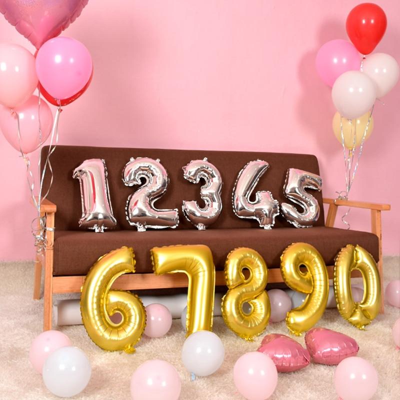 """Número de 16/"""" pulgadas Gigante Fiesta De Cumpleaños Globo Aire onily Números Papel de Aluminio"""
