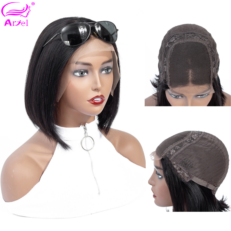 Bob Wig 4*4 Lace Front Human Hair Wigs Remy Hair Straight Bob Lace Front Wigs For Black Women Short Brazilian Closure Wig Ariel(China)