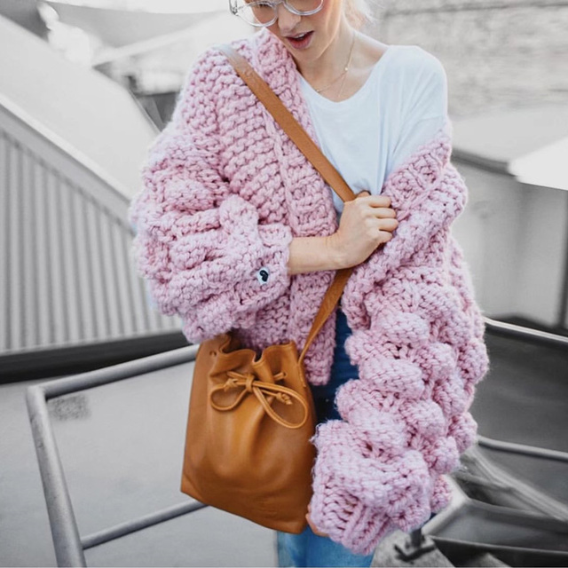 Sexy Knitted Thick Warm pom pom Red Pink Gray cardigan Christmas Women Plus  Size Puff Sleeve 14c419eb8