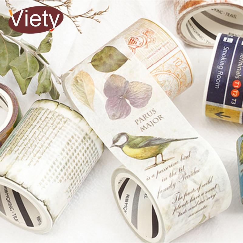1.5-5cm*5m Vintage Animal Map Washi Tape DIY Decorative Scrapbooking Planner Masking Adhesive Tape Label Sticker Stationery