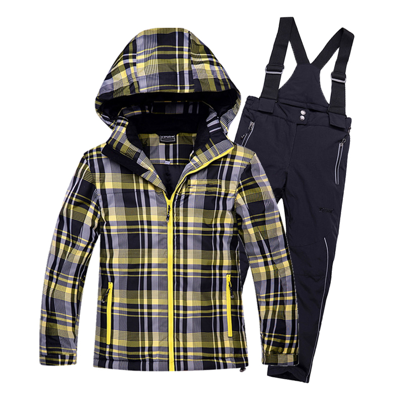 2017 New Childrens Snow Ski Suits Baby Boys Girls Outdoor Wear Hooded Jackets Bandage Pants Snowsuit Kids Winter Warm Skiwear