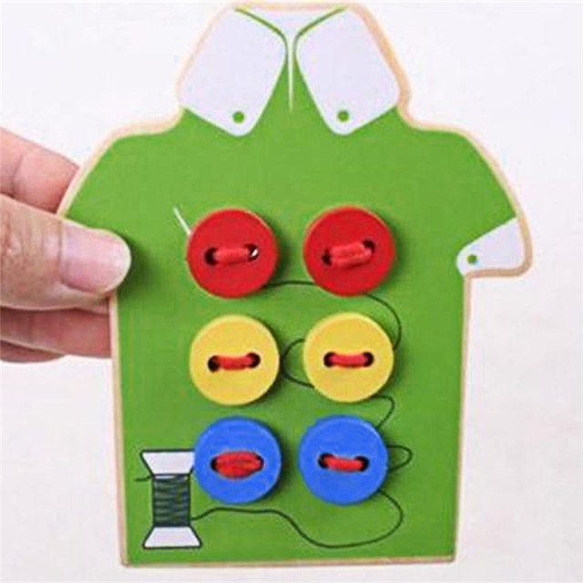 Montessori Juguetes Educativos Niños Cordón Cuentas Tablero de Coser Botones De Madera Niño Juguetes Early Education Teaching Aids Puzzles