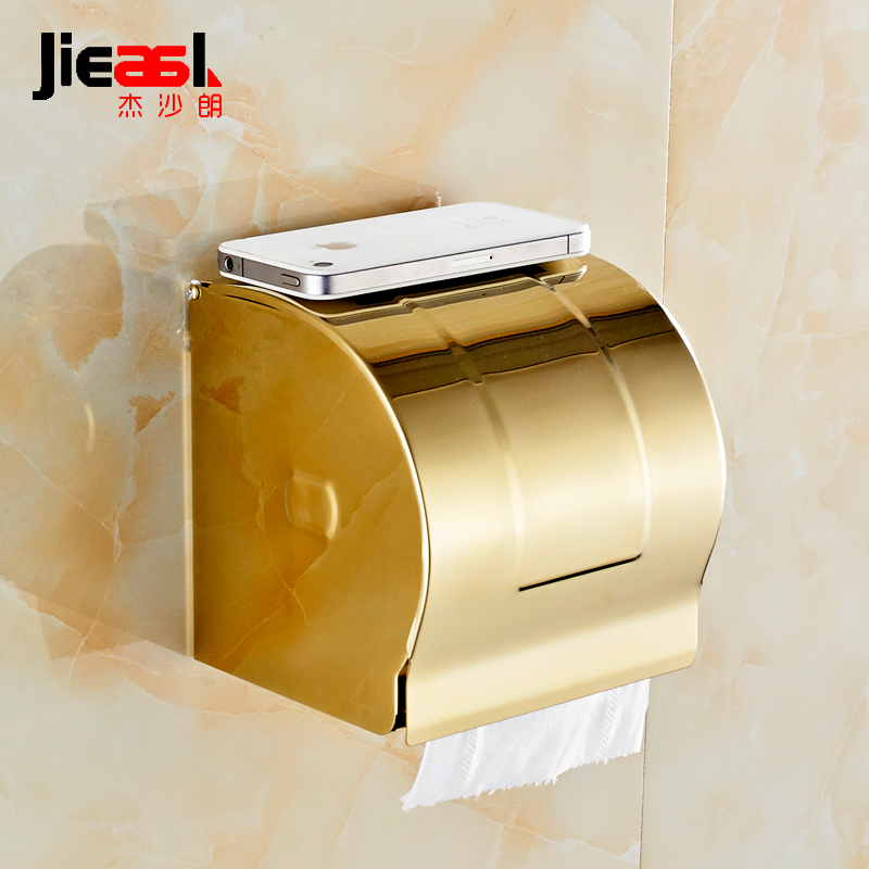 304 Stainless Steel Paper Holder Roll Tissue Holder Hotel works Toilet Roll Paper Tissue Holder Box European-style gold 107