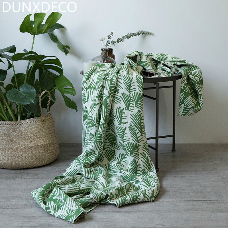 DUNXDECO Blanket Cotton Knitting Cobertor Modern Green