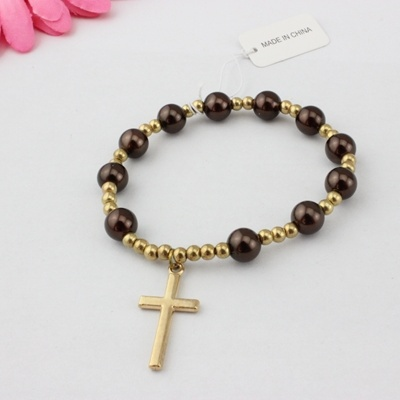 Catholic Rosary Fashion Plastic Stretch Bracelets With Cross Religious Jewelry
