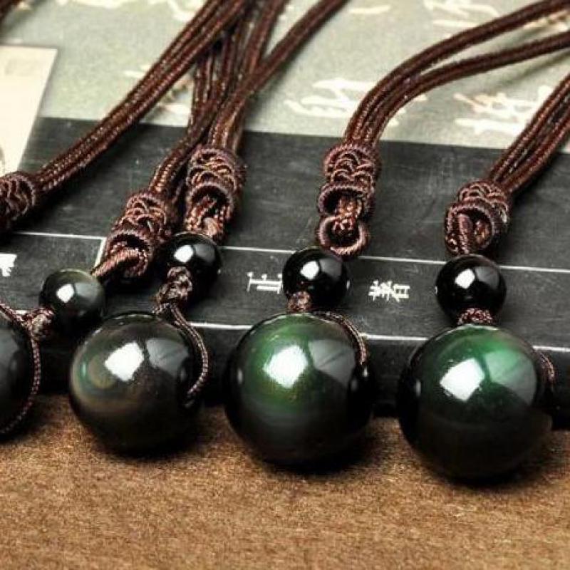 Rainbow Obsidian Energy Ball Stone Necklace