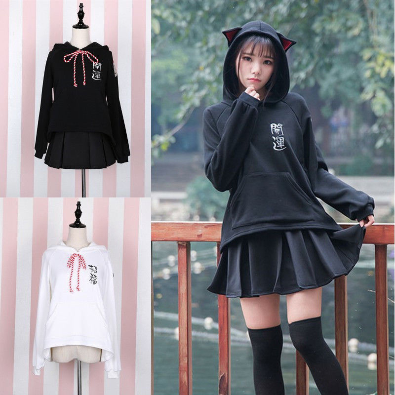 WXCTEAM Japan Style Spring Autumn Lucky Cat Loose Casual Velvet Letters Embroidery Kittys Mori Girl Women Pullover Hooded Hoodie