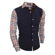Camisa masculina лоскутное плед рубашки одежды повседневная длинным марка дизайн рукавом