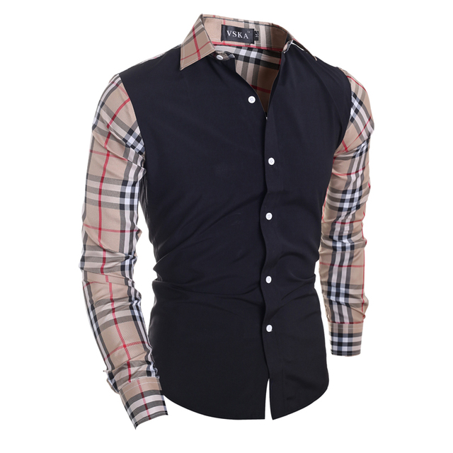 23b6caf054689 Fashion Men Long Sleeve Shirt Plaid Patchwork Men s Casual Cotton Brand  Clothing New Design Shirts Camisa