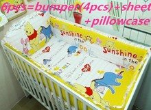 Promotion! 6PCS Bear Cute Baby Cot Set 100% Cotton Crib Set For Kids,Baby Bedding Set Unpick, (bumper+sheet+pillow cover)