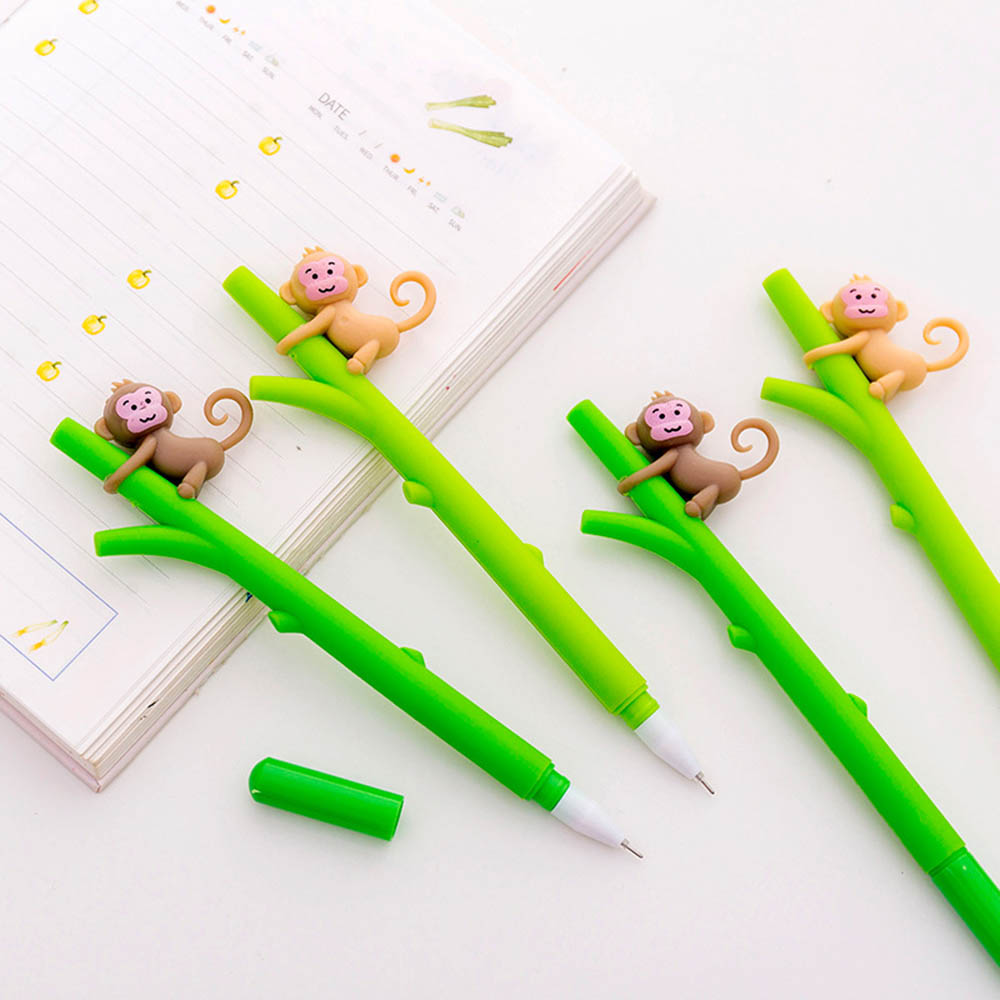 2Pcs Monkey Gel Pens Novelty Stationery Cute Cartoon Gel Pen and Pencils Student Signature Pen Kawaii School Supplies in Gel Pens from Office School Supplies