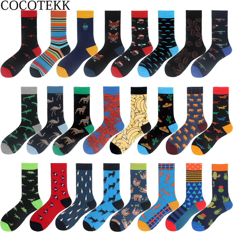 COCOTEKK Big Size Colorful Combed Cotton Men Socks Funny Animal Novelty Dress Socks Men Happy Harajuku Socks For Christmas Gift