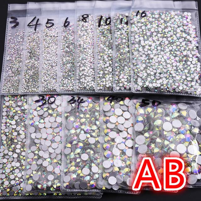 Super Glitter ss3-ss50 Crystal AB Flat Back Non HotFix Nail art Rhinestone 3D Glass Nail Art Decorations Garment Mix Rhinestone