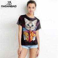 2016 New Design Tees Summer Style Women 3d Shirt Cat T Shirt Cat Eating Pizza Shirts
