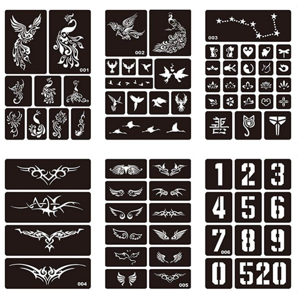 1 Sheet Body Art Hollow Reusable Henna Sticker Stencils for Tattoo Painting Template Airbrush Glitter Tattoo Stencil #275072