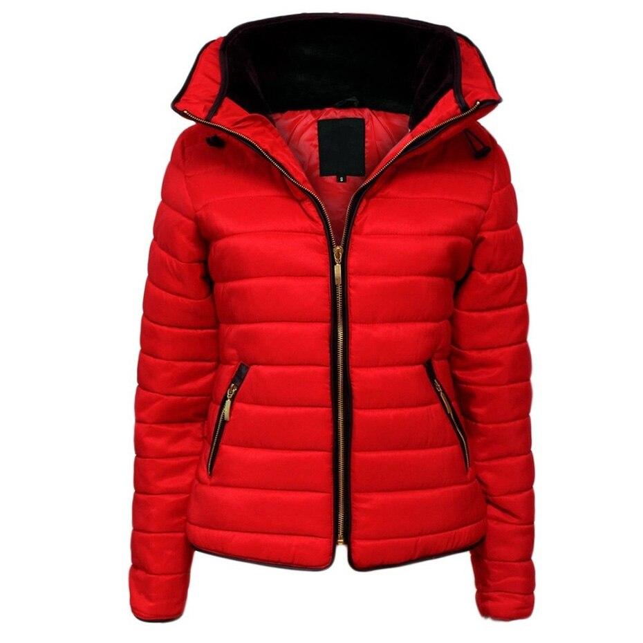 Zogaa mulher com capuz parka senhoras inverno quente puffer casacos com capuz feminino causal fino ajuste cor sólida casaco de inverno parkas 2019 novo