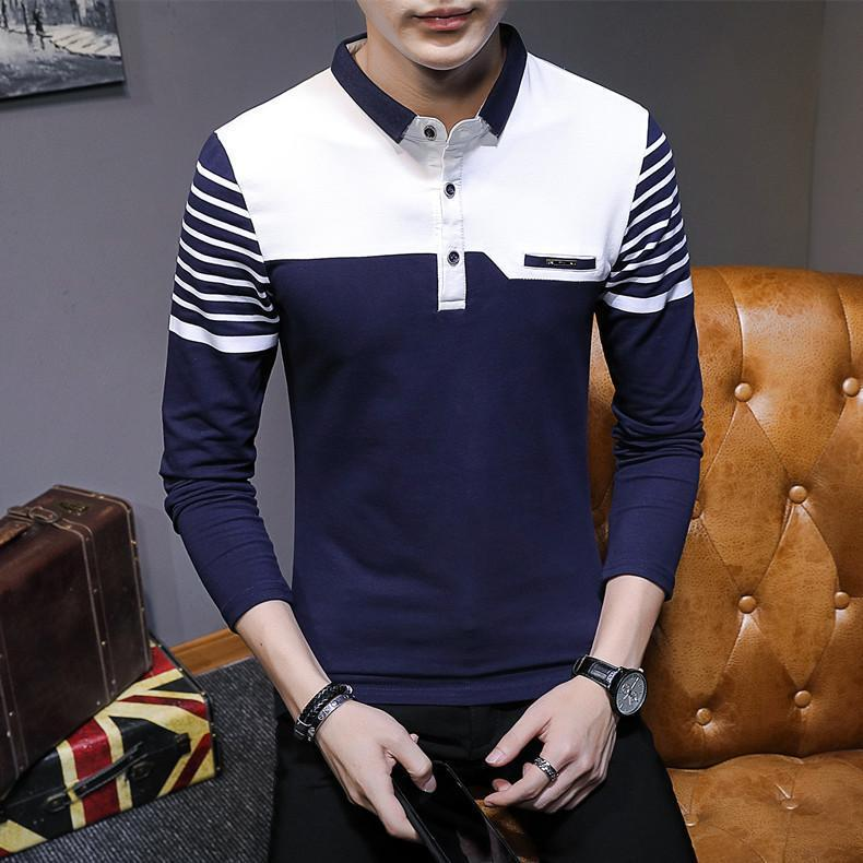 Business Casual Long Sleeve Men Polo Shirt Striped Autumn Winter Polos Cotton Slim Fit Camisa Polo Masculina 58