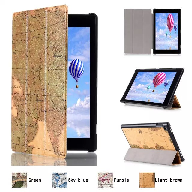 Ultra Slim World Map 3-Folder Folio Stand Leather Magnetic Smart Sleep & Wake Cover Case For Amazon Kindle Fire HD8 2015 Tablet pu leather ebook case for kindle paperwhite paper white 1 2 3 2015 ultra slim hard shell flip cover crazy horse lines wake sleep