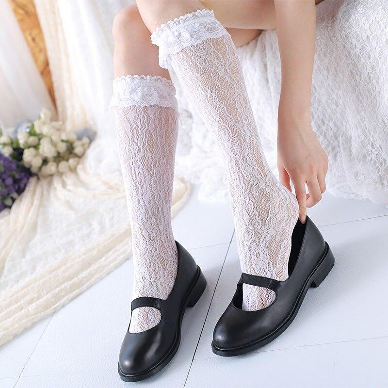 Sweet White Hollow Out Lace   Socks   Women's Lolita Long   Socks