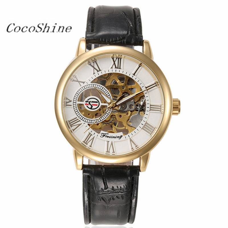 CocoShine A-999 Luxury Mens Steampunk Skeleton Stainless Steel Automatic Mechanical Wrist Watch wholesale  wholesale wilon mens stainless steel mechanical skeleton watch