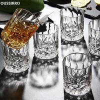 OUSSIRRO 6Pcs/Set Crystal Whiskey Glass Cup For The Home Bar Beer Water And Party Hotel Wedding Glasses Gift Drinkware