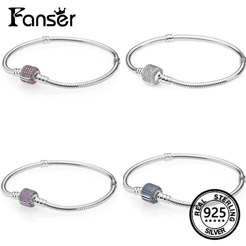 FANSER Bracelet Classic Geniune 100% S925 Pure Silver Pandor Original Copy Has Logo & Moments Pave Silver Womens chain Jewelry