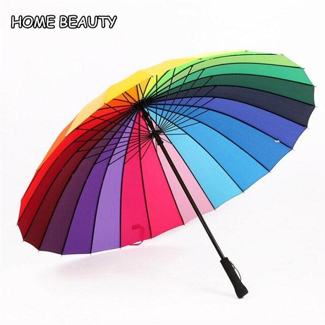Grande manico lungo ombrelli 24 k arcobaleno ombrellone femminile delle donne om
