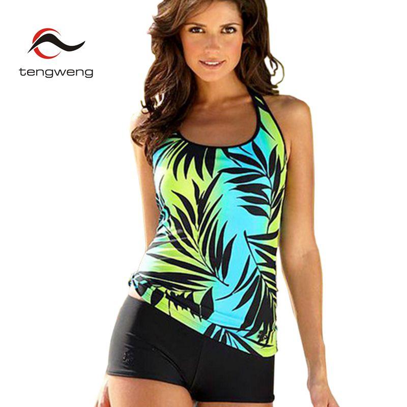 Tengweng 2019 Nuevo 5XL Talla grande Juego de tankini Hojas Traje de baño Mujer Dos piezas Traje de baño Pantalones cortos Imprimir Traje de baño de mujer brasileña