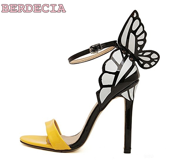 a18951edcb6 Chic BOW TIE peep toe color matching sandals women for party bridal thin  heel shoes yellow red glossy leather sweet girl sandals-in High Heels from  Shoes on ...