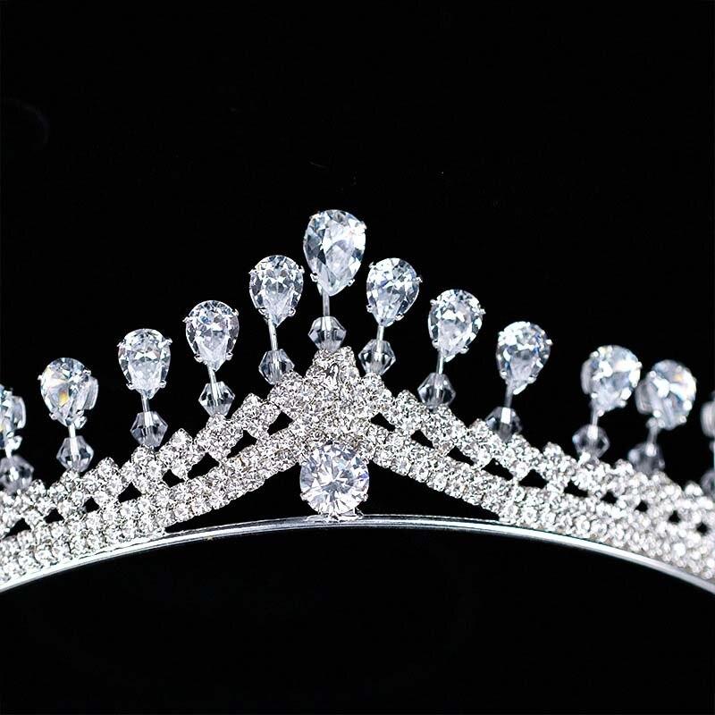 Для женщин моды горный хрусталь циркон queen Корона Люкс Диадемы Noiva корональных головной убор волос ювелирные украшения для Свадебная вечери...