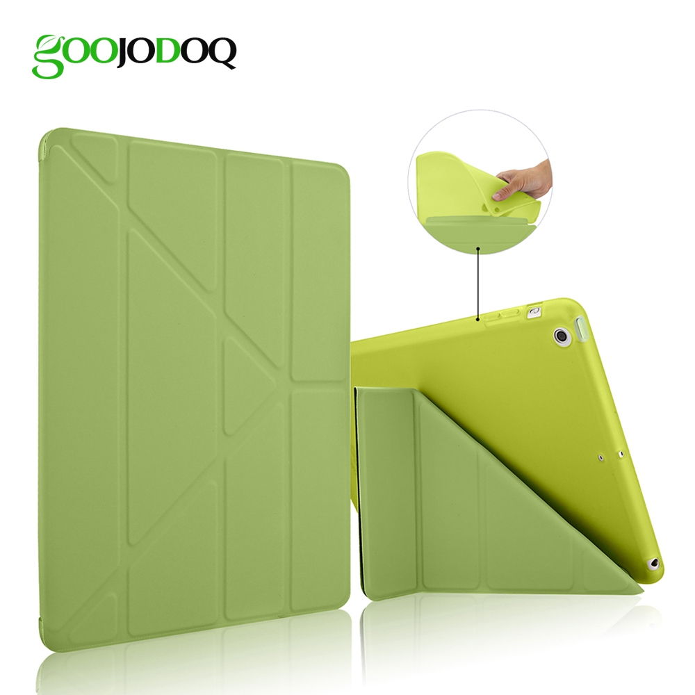 GOOJODOQ For iPad Air 1 2 Smart Case 5 Shapes Stand Ultra Thin PU Leather Cover Silicon Soft Case Auto Sleep/Wake up for ipad pro 9 7 5 shapes smart case soft tpu back case slim pu leather magnetic cover for ipad 7 air 3 auto sleep wake a66